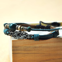 Handmade Leather Bracelet-Blue Bead