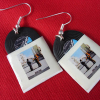 pink floyd, wish you were here, vinyl record miniature earrings