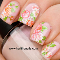 English Rose Nail Art Water Transfer Decal Pink &amp; by Hailthenails