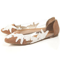 $60.00 MARAIS Lace Perspex Points Flats - Topshop USA