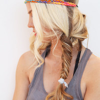 Boho Tribal Braided Crochet Stretch Headband Headwrap in Neon Tie-Dye