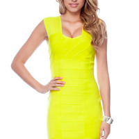Strapping Bandage Dress in Yellow :: tobi