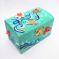 Koi fish jewelry box turquoise by FlowerLandShop on Etsy