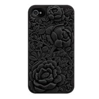 Black Rose Embossing Design Case for iPhone 4/4S