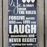 Vintage Inspired Wood Sign Life is Short Black by 13pumpkins