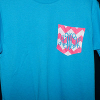 Frocket Pocket Personalized Chevron Pocket T Shirt Monogrammed and Personalized