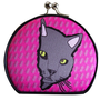 Curious Gray Kitty Pink Compact Mirror