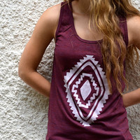 Tank Top  Cranberry with White Diamond by littleminnowdesigns