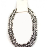 Vintage Silver-tone Beads Chain Necklace with Diamante Embellishment