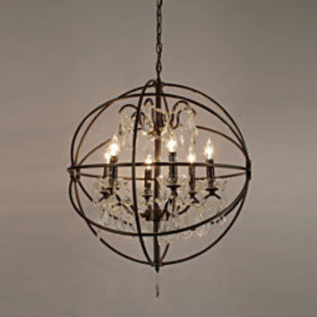 Foucault's Orb Crystal Iron 6 Light Chandelier | Overstock.com