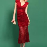 Red Sexy Deep V Flounced Dress S010537