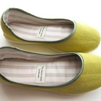 Eco Cute Ballerina Flats in Lime Green 910C by TheGeneration