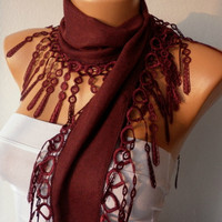 Wine Scarf   Pashmina Scarf  Headband Necklace Cowl by fatwoman/87617265/