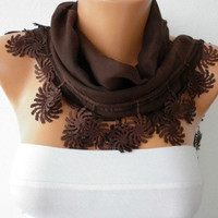 Brown Scarf   Cotton  Scarf  Headband Necklace Cowl by fatwoman/88870849/
