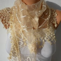 Yellow  Scarf    Headband Necklace Cowl with Lace Edge by fatwoman/91450361