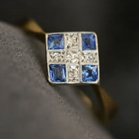 Art Deco Sapphire & Diamond Ring by Ruby Gray's | Ruby Gray's Antique & Vintage Rings