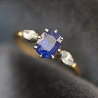 Sapphire and Diamond Engagement Ring by Ruby Gray's | Ruby Gray's Antique & Vintage Rings