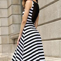 SUMMER STYLE MIDI LENGTH STRIPE DRESS