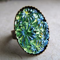 Menthe Bouquet  Floral Glass Ring by AshleySpatula on Etsy