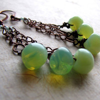 Czech Glass and Copper Earrings  Key Lime Green by AshleySpatula