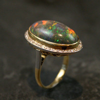 1920s 7ct Black Opal Cocktail Ring by Ruby Gray&#x27;s | Ruby Gray&#x27;s Antique &amp; Vintage Rings