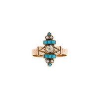 Doyle & Doyle | Ring: Mid-Victorian Diamond Turquoise & Pearl* Ring