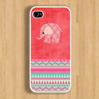 The Elephant on Watermelon Pink Pattern and Aztec Design: Iphone 4/4s case Iphone 5 case