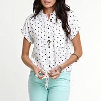 Kirra Short Sleeve Tie Front Button Down Shirt at PacSun.com