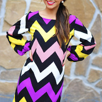 Hip In Her Chevron Dress: Multi | Hope's