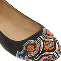 New Look Lexican Embroidered Ballet Flats at asos.com