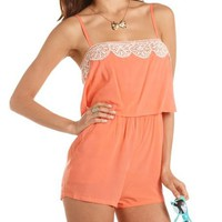 Crochet Trim Ruffle Bust Romper: Charlotte Russe