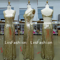 Straps V Neck Sexy Long Sequined Gold Prom Dresses, Evening Dresses, Evening Gown