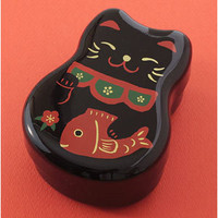Black Lucky Cat Lacquered 2 Tier Bento Box & Elastic Band & Fork