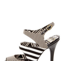 Jessica Simpson Philomena Black and White Striped Peep Toe Heels