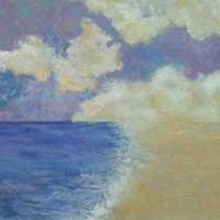 painting summer beach scene titled serenity by watermediaworks