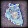 Vintage High Waisted Studded Acid Wash Levis Cut Off Shorts 28&quot; Waist