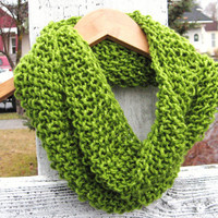 Seed Stitch Knit Cowl Scarf in Sparkly Green  by LadyJaneDarcy