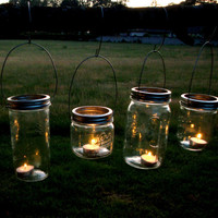 Mason Jar Garden Lanterns Hanging Tea Light Luminaries - Set of 4