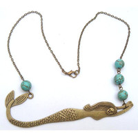 Antiqued Brass Mermaid Turquoise Necklace by gemandmetal on Etsy