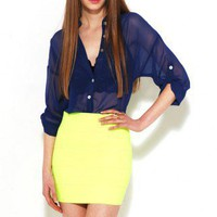 yellow Neon Banded Skirt by AKIRA | Tube Mini Skirt | shopAKIRA.com