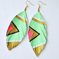 Neon Aztec Seafoam Hand Painted Faux Leather by lovesexton