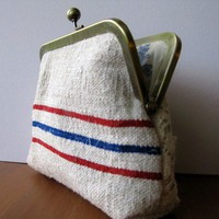 Red Blue French grain sack Clutch Bag by BagNoir on Etsy