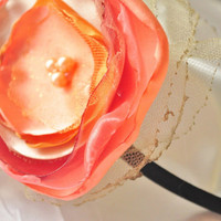 Gorgeous floral headband in tangerine and creamy by ScrappyFlorals