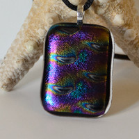 Purple fused glass necklace pendant by eyeseesage on Etsy