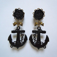 Black Rose and Anchor Plugs with Antique bronze filigree and bow 2g (6mm) and 4g(5mm) gauges for stretched ears by Gauge Queen on Etsy
