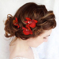 red flower hair pins, red orchid, bridal hair accessories - DROPLETS - bridesmaid bobby pins