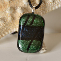 Green Blue Fused Glass Necklace by eyeseesage on Etsy