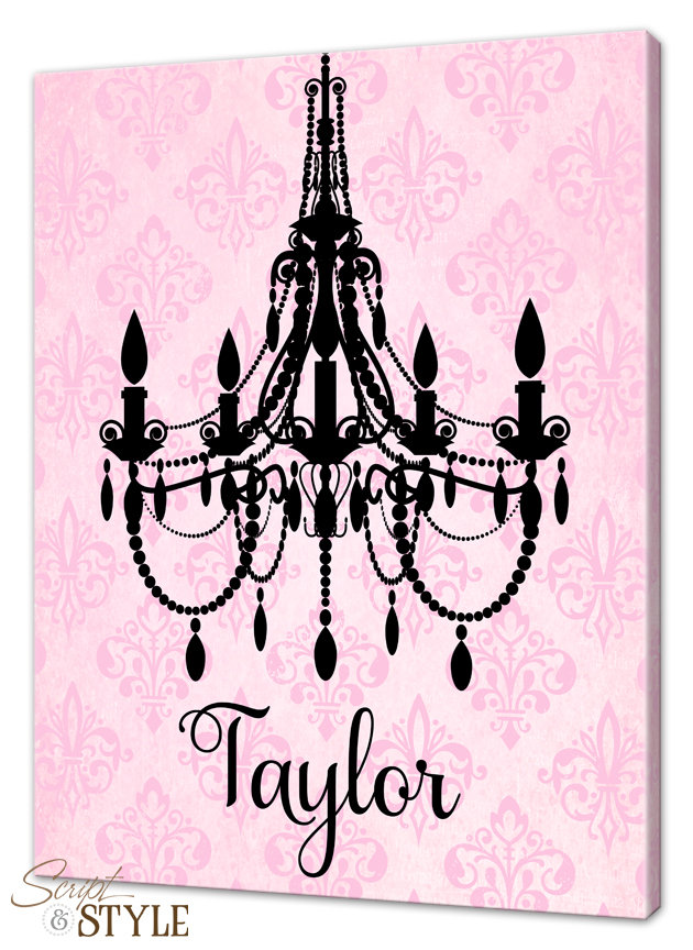 Personalized Girls Chandelier Canvas Wall from