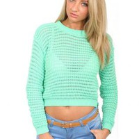 Pilot Mimi Waffle Crop Jumper in Green