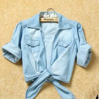 Casual Medium Sleeve Jean Coat with Tied Closure